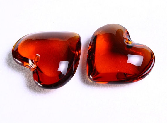 Sale Clearance 20% OFF -  2 Brown topaz heart glass bead 25mm x 24mm 2pcs (733)