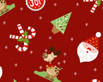 Christmas Fabric, Reindeer Fabric, Red Fabric, Santa Fabric, Peppermint Twist, 01491