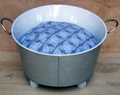 10 DOLLARS OFF - Industrial Style Cat Bed with Soft Pillow and Handmade Legs - Gray and White Galvanized Metal Tub