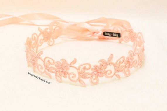 Peach Pearl Beading Flower Lace with Satin Ribbon Sash // Bridal Sash , Bridesmaid Sash, Head tie, Headband , Wedding Sash / SH-27