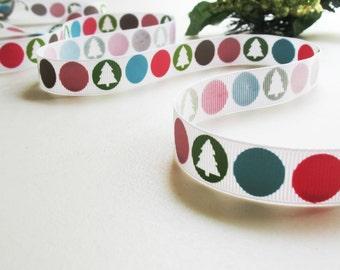 3 yd Ribbon Grosgrain Color  Cirlcles fun