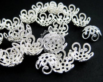 100pcs 9mm vintage silver flower cap,silver beads cap,vintage beads cap,brass beads cap 1562002