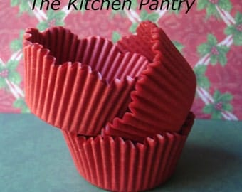 Warm Red  Scallop Cupcake Liners, Specialty Baking Cups 50 standard liners