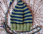 stripey elf hat for newborn baby - ready to ship - navy with green