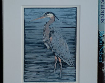 Great Blue Heron Block Print
