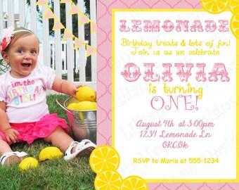 Pink Lemonade Party Invitation - PRINTABLE Custom Photo Invitaiton and Thank You Card - Lemonade Birthday Invitation