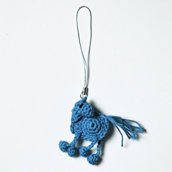 Tiny Ultramarine Very Happy Horse Cell Phone Charm in Crochet