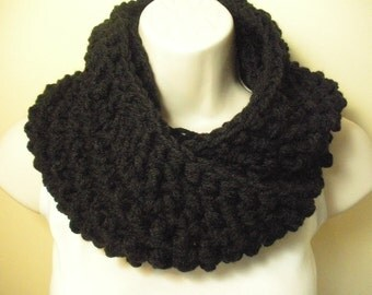 Black Cowl Infinity Circle Scarf Neckwarmer