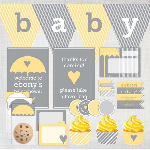Items similar to printable diy baby shower party for Baby shower decoration packs