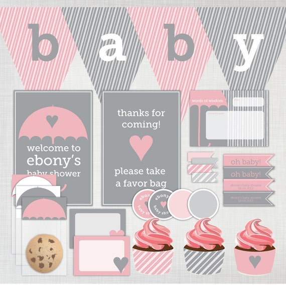 Printable diy baby shower party decoration pack featuring for Baby shower decoration packs