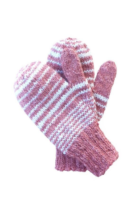 Hand Knit Mittens Children, Girls Handknit Mittens, Handknit Kindergarden Mittens, Seamless Handknit Mittens - Free US Shipping.