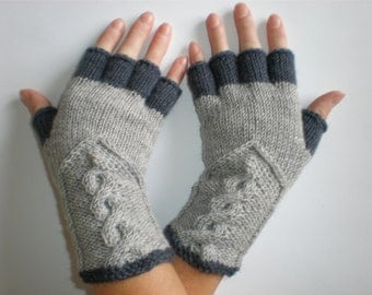 Hand-knitted light grey and dark grey color women fingerless gloves