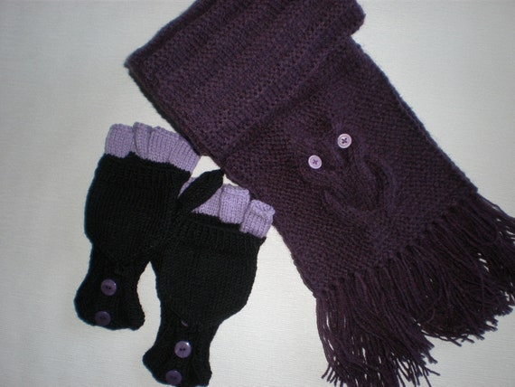 Hand-knitted black lilac color women convertible fingerless gloves and dark purple scarf with owls SPECIAL ORDER for Beth