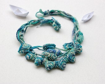 Knitted necklace with bamboo beads, blue turquoise mint aqua, OOAK