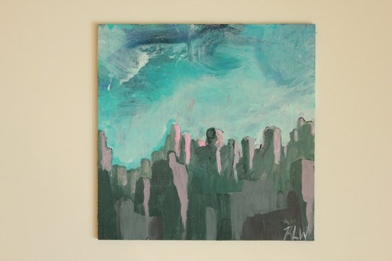 """Miniature Abstract Painting by RLWII - 6"""" X 6"""" square"""