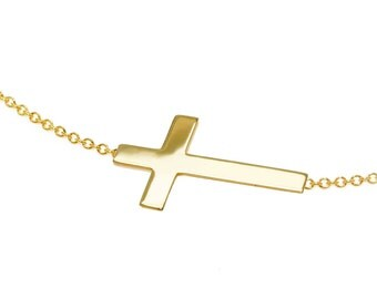 Solid 14K Gold Cross Necklace