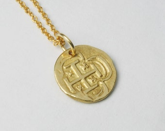 Solid 14K Gold Spanish Coin Pendant NO CHAIN