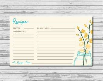 Mason Jar Recipe Card - 3x5 printable download - flowers rustic recipes cards PDF bridal kitchen shower mason jar