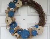 "Burlap & Fabric Flower Grapevine Wreath - 17"" Diameter - Blue and Browns"