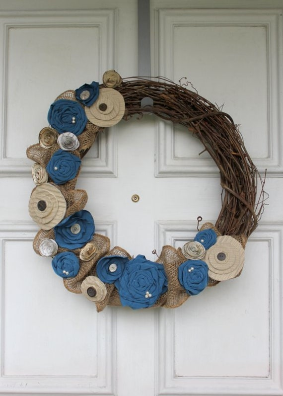 "Burlap & Fabric Flower Grapevine Wreath - 17"" Diameter - Blue and Browns"