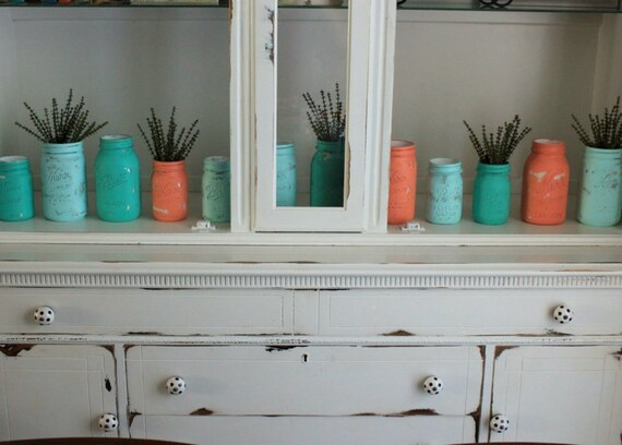 SALE Teal, Turquoise, Aqua, and Coral Painted Mason Jars - Set of 12 - Coral and Teal Decor - Coral and Turquoise Decor