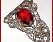 "Victorian Red Rhinestone Brooch Pin Signed Clover Logo C Clasp Pot Metal Vintage1 3/4"" VG"