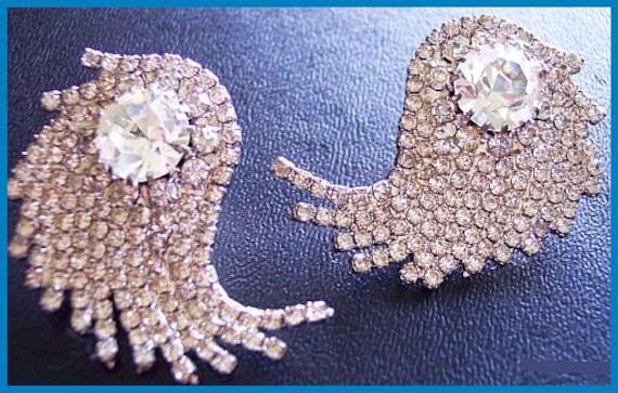 "Vintage Rhinestone Earrings Clip Ons Unique Swirl Crystal Glass & Silver Metal 1 3/4"" CIJ Sale"