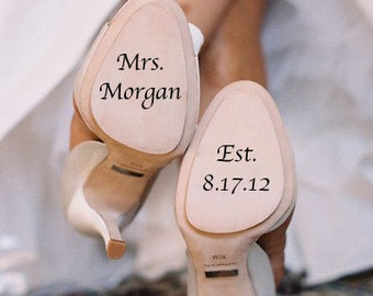 Wedding Shoe Personanlized  Vinyl Decal by Memories in a Snap