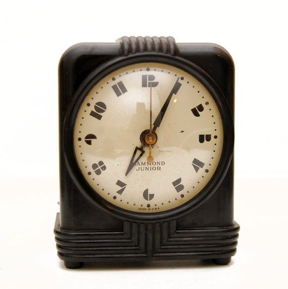 Vintage Bakelite Hammond Junior Alarm Clock, Art Deco.