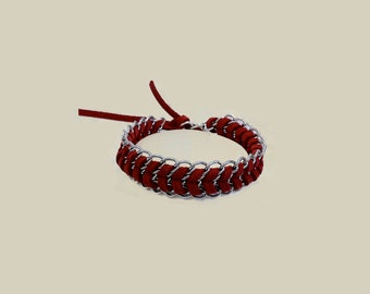 Mco Jewelry Red Suede and Silver Chain Bracelet (Women)