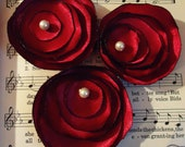 Maroon Satin Flower Hair Accessories with Glass Pearl Center Set of Three (3)