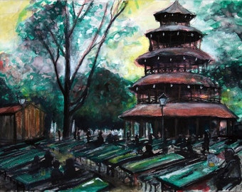 Biergarten at the Chinese Tower Munich original artwork