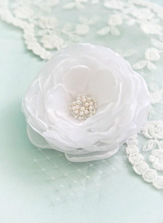 White Wedding Hair Flower Clip in Satin and Organza with Rhinestone Accent  Bridal Hair Flower Wedding Hair Piece