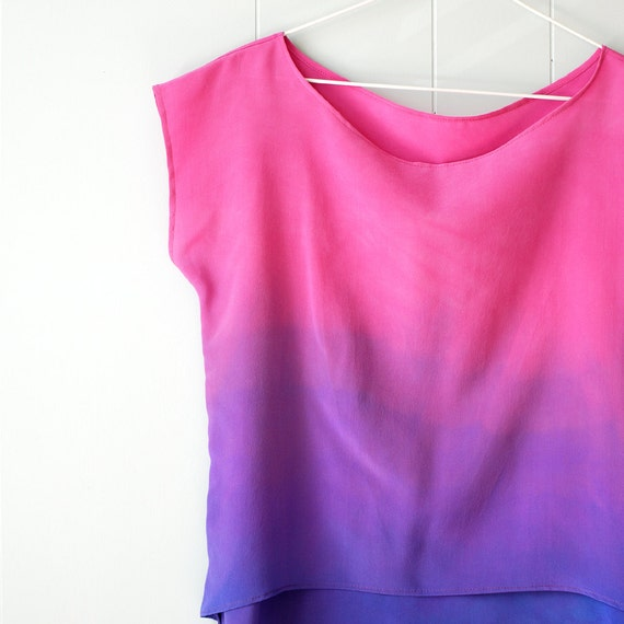 Reserved / Ombre Silk Shirt.  An Ode to Rothko No. 3 - Petal.