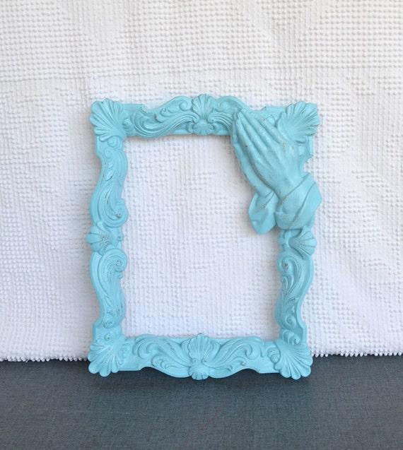 Vintage Ornate Aqua Frame with GLASS - Upcycled Praying Hands Frame Shabby Chic Modern Nursery Decor Coastal Cottage Beach Decor