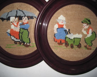 Pair of Vintage Framed Needlepoint Pictures - Nursery