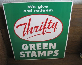 Vintage Double-Sided Thrifty Green Stamps Flange Sign