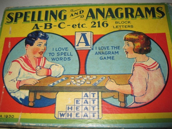 Rare Antique 1930 Spelling and Anagrams Game