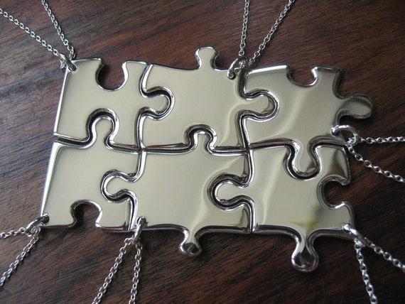 Six Silver Puzzle Piece Pendant Necklaces