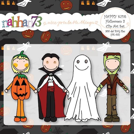 Items similar to Happy Kids: Halloween 3 - Clip Art Set ...