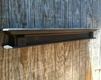 Fireplace mantle shelf - distressed black shelf