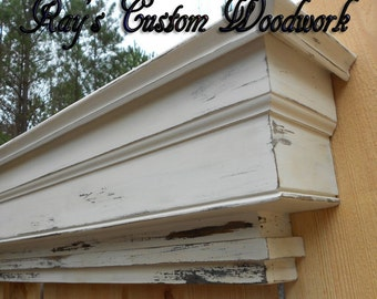 Tiered Headboard wall shelf ledge - Mantel shelf