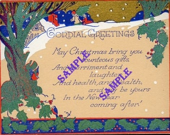 Digital Download-Vintage Card-Cordial Greetings for Christmas