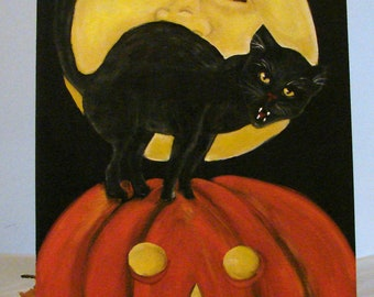 Pumpkin patch black cat in moon