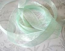 Mint Green Organza Ribbon 3/8 -- 4 yards -- Pistachio -- 9.5mm