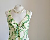 """Vintage Maxi Dress- Low cut cream and green evening dress (medium-large size) // """"Almira Dress"""" from Lesley's Girls Vintage"""