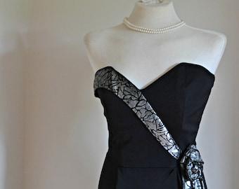 "Vintage Cocktail Dress- strapless black 1980s Party Season Fashion // ""Metallic Waterfall Dress"" by Lesley's Girls Vintage"