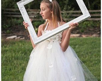 Ivory Flower Petal Drops Tutu Dress- Flowergirl, pageant, hydrangea