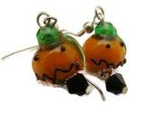 Earrings, Halloween Pumkins, Dangle