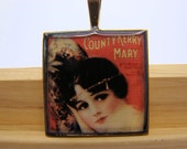 Resin Pendant, Vintage Album Cover, Country Kerry Mary, Red, Black, White, For Her